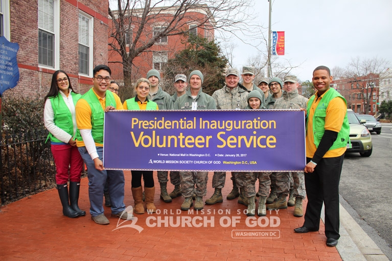 World Mission Society Church of God, wmscog, 2017, presidential inauguration, president, government, capitol hill, washington dc, national mall, volunteerism, volunteer